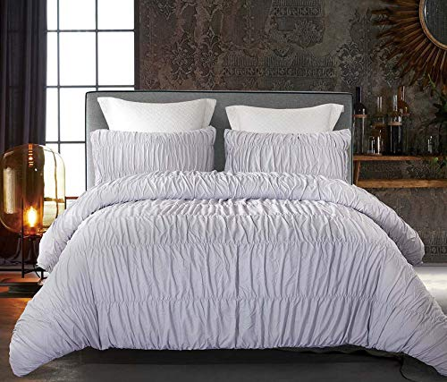 Cozyholy Duvet Cover Set 3 Pieces Luxury Silky Ruffle Soft Breathable Lightweight Bedding Set with Zipper Closure and Corner Ties (Gray Ruched, Queen)