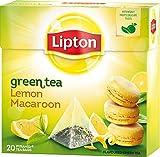 Lipton Té Verde - Limón y Francés Macaroon (Macaron) - Nuevo y único Sabor - 20 Bolsitas De Té Premium, Con Forma De Pirámide en uno Caja [Paquete de 3]