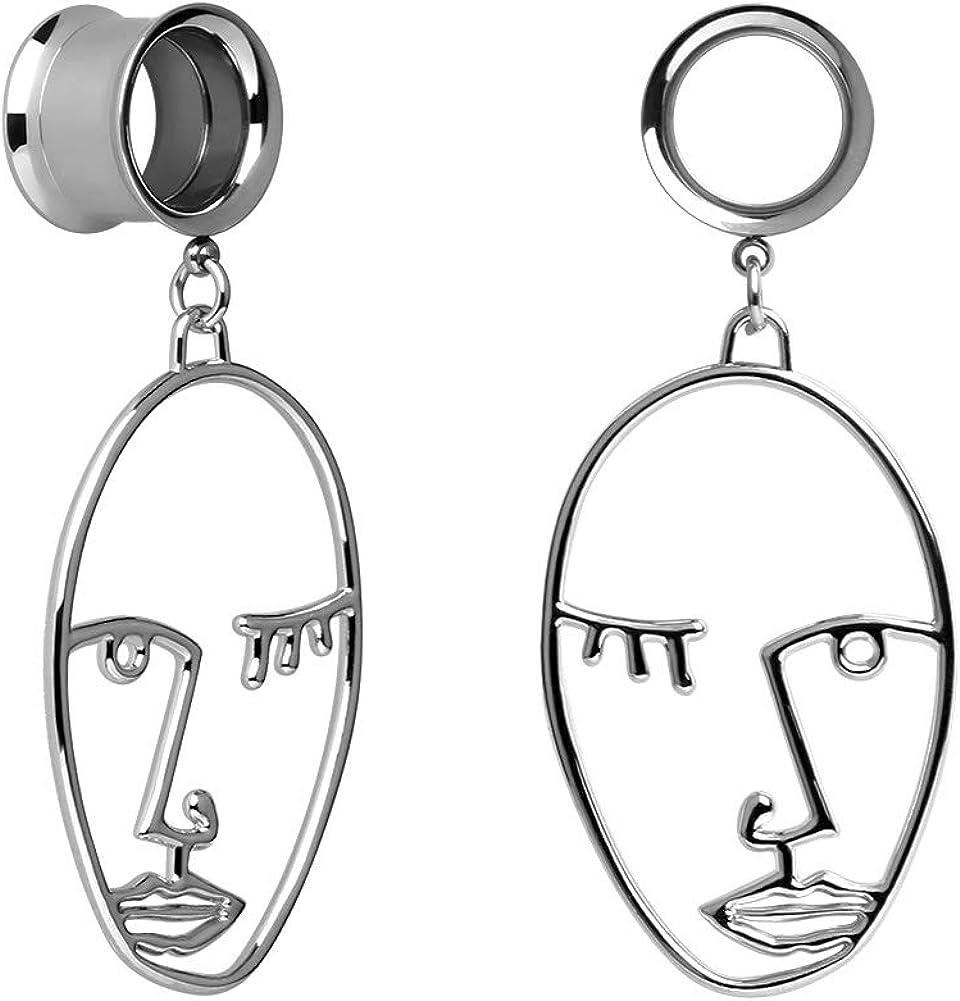 KUBOOZ Ear Plug Tunnel Gauge Stretcher Piercing Face Design Pendant Stainless Steel Screw