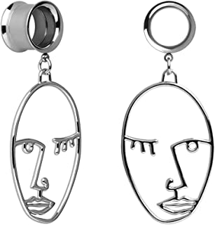 KUBOOZ Ear Plug Tunnel Gauge Stretcher Piercing Face Design Pendant Stainless Steel Screw