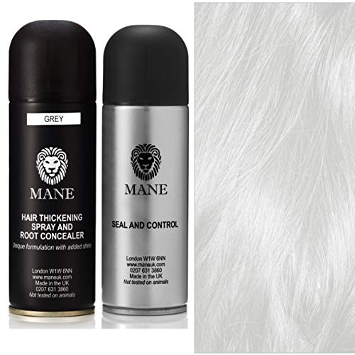 Mane Hair Thickening Spray 200 ml with Seal & Control 200 ml Fixing Spray -12 colours (Grey)