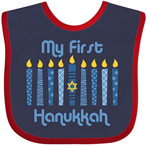 Inktastic 1st Hanukkah Candles Baby Bib Navy and Red