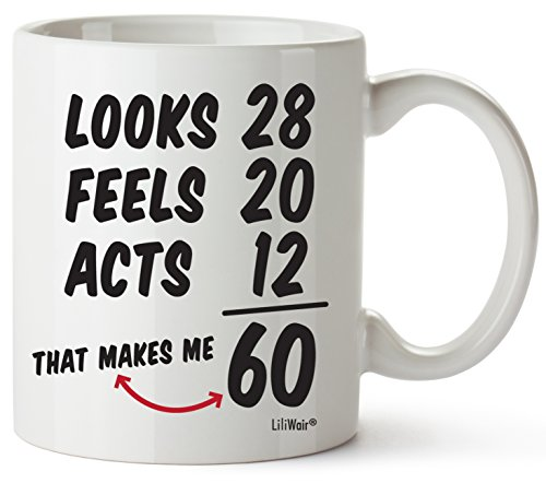 60th Birthday Gifts For Women Sixty Years Old Men Gift Mug Happy Funny 60 Mens Womens Womans Wifes Female Man Best Friend 1960 Mugs Male Unique Ideas 60 Woman Wife Gag Dad Cute Girls Guys Good Husband