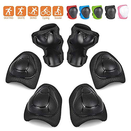 YOMI Knee Pads Kids Knee and Elbow Pads Wrist Guards Best Knee Pads for Kids Roller Skates Cycling BMX Bike Skateboard Inline Skating Scooter Riding Protector Guards Pads Set (Black)