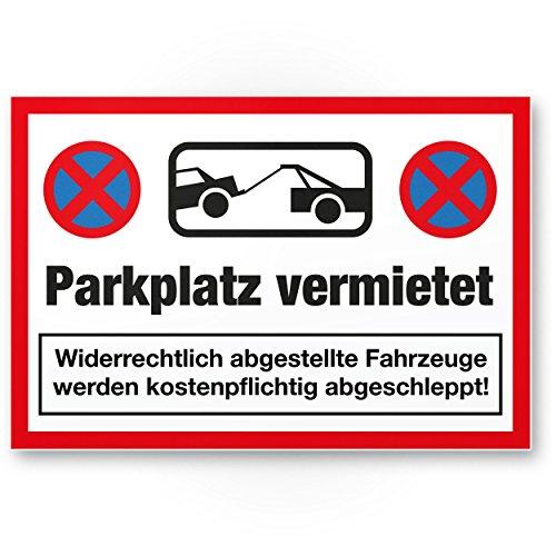 Parkplatz vermietet Kunststoff Schild (rot, 30 x 20cm), Parkverbot SchildParken Verboten, Hinweisschild Privatparkplatz reserviert - freihalten, Parkplatzschild vermietet - Falschparker