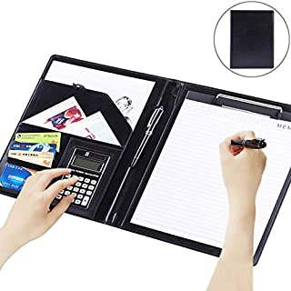 Yiherone Office Supplies Business Style Leather Document Folder with 30-Pages A4 Note Pad & Calculator (Black) New (Color : Black)