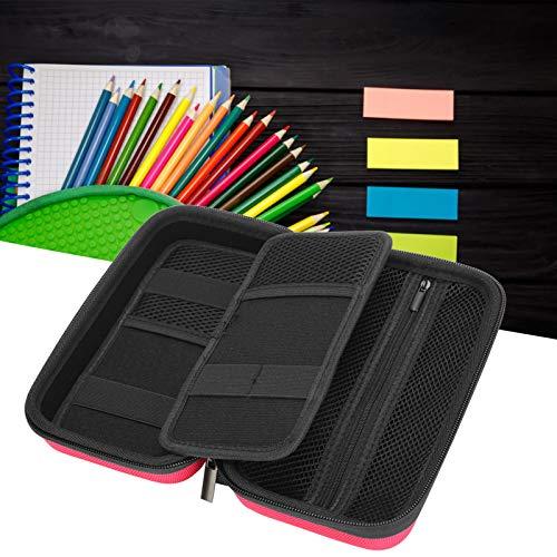 Bolsa de papelería, portátil de gran capacidad con múltiples compartimentos Caja de almacenamiento duradera, para almacenamiento de bolígrafos Estudiantes Artistas Almacenamiento de lápices(Rose red)