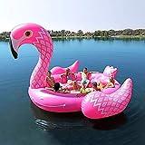XUEKUN Verano Piscina Inflable del Flotador 6 Persona Enorme Gigante Cama Flotante Monte Agua Flamenco Piscina Mat Island Lounge Party Pink-410 * 430 * 270cm
