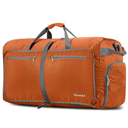 Gonex 100L Foldable Travel Duffle Bag, Extra Large Luggage Duffel with shoes compartment Orange