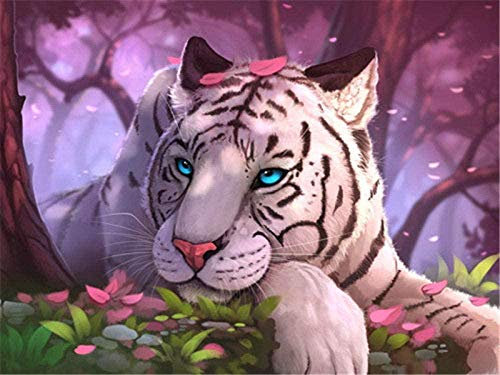 Diy 5D Diamante Pintura Por Número Kit Ryutp Diamond Painting Kits Paisaje Animal Diamond Painting Taladro Completo Kit Fabricación De Mosaicos Regalo (Tigre Blanco Animal 30X40Cm)