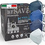 20 Mascarillas FFP2/KN95 Colores Mezclado Homologadas Certificación CE de 5 Capas, Máscara Protectora, Mascarilla de Protección Personal con Filtros de Calidad BFE≥95, 20 Piezas - Made in Italy
