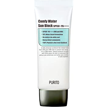 PURITO Comfy Water Sun Block SPF50+ PA++++ 60ml/ 2 fl.oz [essential oil included]EWG All Green Ingredients, 100% physical sunscreen, UVA1,2 UVB, Broad spectrum,Lightweight,Sensitive skin