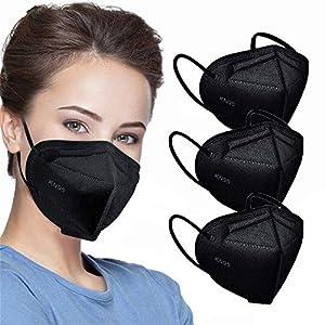50pcs KN95 Face Mask Black 5 Layer Cup Dust Safety Masks Filter Efficiency≥95% Breathable Elastic Ear Loops Black Masks