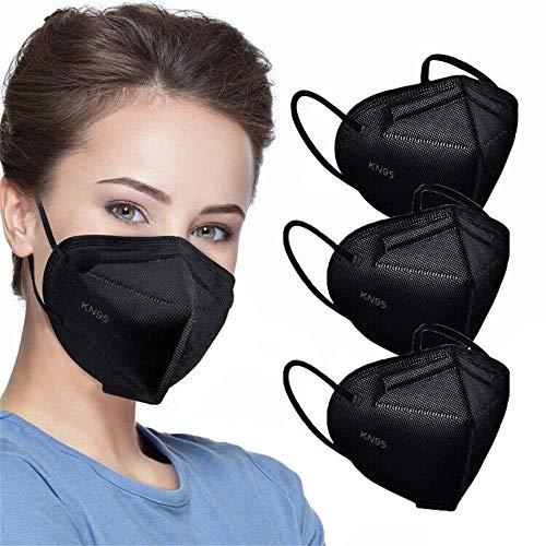 KN95 Máscaras faciales, Negro, máscaras de seguridad con 5 capas para polvo con filtro de eficiencia ≥95% transpirable, bucles elásticos para el oído, máscaras negras 50 piezas