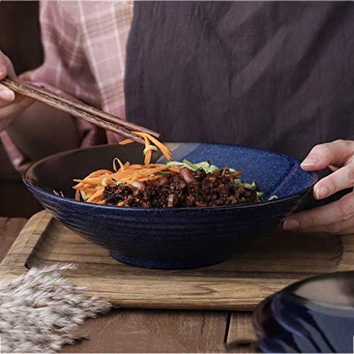 Style Japonais Bleu Bol À Salade Ménage Grande Capacité Bol À Soupe Bol Rétro Vaisselle Vaisselle Ronde Bols De Fruits (Size : 8 inches)