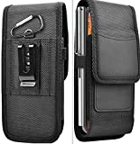 JES Phone Holster Waist Bag-Hiking Travel Camp Running-Mini mobile wallet Money Belt Easy Carry Any Phone to use with Samsung iPHone Nylon Cell Phone Belt Clip Holster (Black)