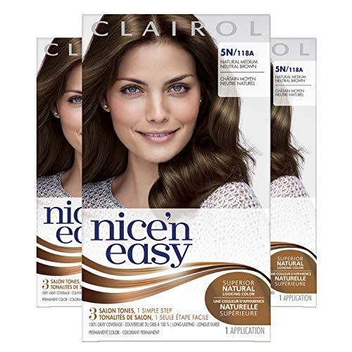 Clairol Nice'n Easy Original Permanent Hair Color, 5N Medium Natural, 3 Count
