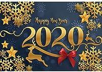 新しい2020クリスマス背景ポリエステル生地7x5ft新年あけましておめでとうございます写真背景クリスマスパーティーの装飾星トナカイ写真雪片クリスマスイブイベント装飾写真小道具