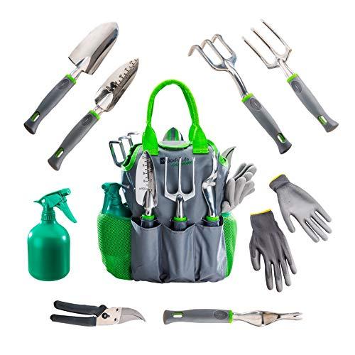 BoxFulLife Gartenliebe - 9-in-1 Gartenwerkzeug Set (Kelle, Schaufel, Grubber, Harke, Unkraut-Stecher, Ast-Schere) mit geräumiger Werkzeug-Tasche, Garten-Handschuhen und Sprühflasche.