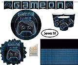 El Juego Gaming Pary Supplies Decorations Incluye Platos Grandes de Papel, Tazas, servilletas, manteles, lápices de Colores sin pancartas, para 16 Invitados