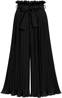 Pviolet Palazzo Trousers Women's Wide Leg Casual Gaucho Pants Elastic Waist Culottes Summer Loose Elasitc