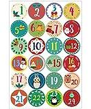 MMTX Calendario adviento, 24 Pegatinas de números para Cale
