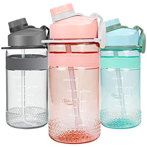 Gourde Enfant, 651ml Bouteille avec Paille, Gourde Plastique Enfant Adulte Garçon Fille - -Anti-goutte-sans BPA