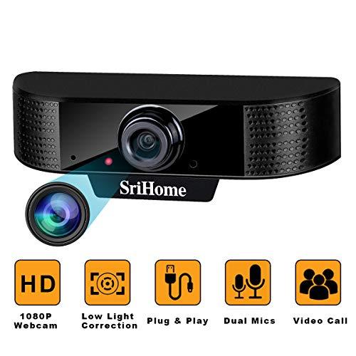 Webcam PC con Microfono ENONEO Webcam HD 1080P Spina & Giocare USB 2.0/3.0 Streaming Web Camera PC Fisso per Videochiamate, Studio, Conferenza, Registrazione, Gioca a Giochi Telecamera Computer (Nero)