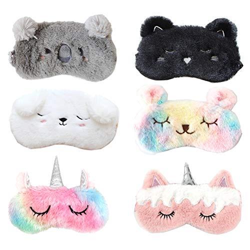 6pcs Sleep Mask Plush Soft 3D Cute Unicorn Animal Design Eye Mask for Sleeping Travel Cartoon Sleeping Mask Kids Adult