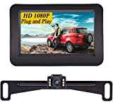 Yakry Y11 HD 1080P Car Backup Camera with Monitor One Wire Kit for Reverse/Rear View License Plate Reverse Camera for Cars,SUVs,Trucks,RVs IP69 Waterproof Guide Lines DIY