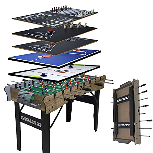 GOOSO 7-in-1 Foosball Table | Foldable Multi Game Table with Air Hockey, Foosball, Ping Pong, Bowling, Backgammon, Shuffleboard, Perfect for Kids, Adults, and Family Fun (48 Inch)