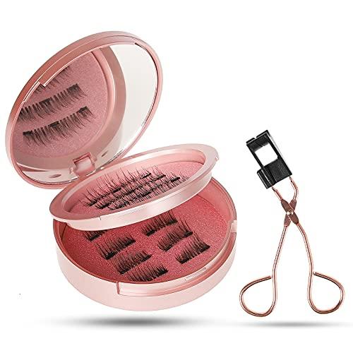 Magnetische Wimpern 3D Künstliche Wimpern Set, Wiederverwendbare Dual Magnetic False Eyelashes mit Hilfspinzette + Aufbewahrungskiste, Falsche Wimpern Natürlich Look, 3 Paar