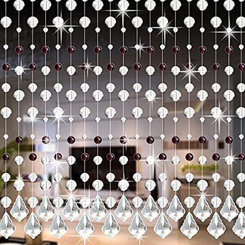 Eastery Vorhänge Kristall Kette Türvorhang Fadengardine Vorhang Raumteiler Perlenvorhang Klar Durchsichtig Einfacher Stil Hochzeit Deko (A) (Color : I, Size : Size)