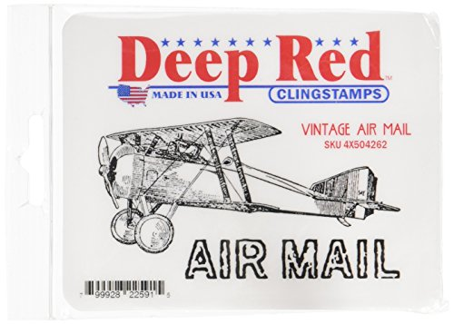 Deep Red Stamps Tampon étirable en 4 x 5,7 cm Vintage Air Mail Rouge Profond