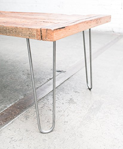 "Industrial By Design - 16"" Hairpin Table Legs - (Raw Steel) Elegant Mid Century Modern - Two Rod Design - Premium Heavy Duty Build - Easy DIY Installation - Set of 4"