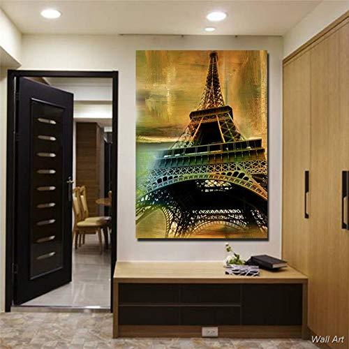 Puzzle 1000 Piezas Arte Torre Eiffel Pintura Vintage Cuadro Arte Pintura Puzzle 1000 Piezas clementoni Juego de Habilidad para Toda la Familia, Colorido Juego de ubicación.50x75cm(20x30inch)