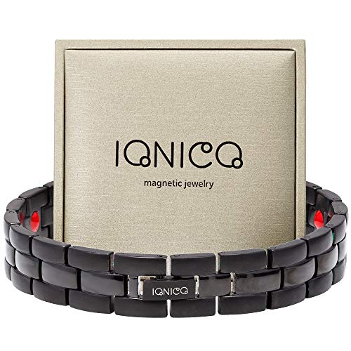 IONICO Stylish Magnetic Therapy Bracelet for Men and Women Health Improvement | Reliefs Arthritis, Carpal Tunnel, migraine, Headache Pain, Blood Pressure | Strong Energy with Healing Power (Black)