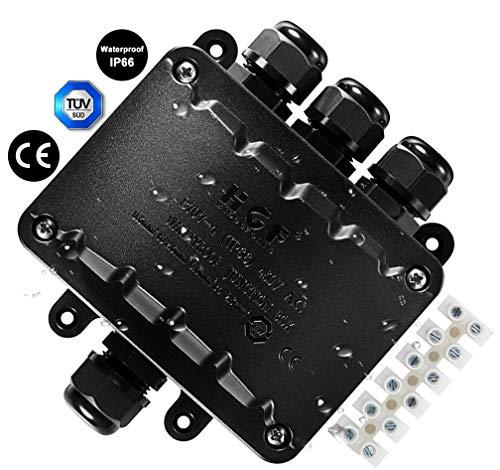 4 Wege Abzweigdose, IP66 Wasserdicht Kabelverbinder mit polige kabelverbindung, Schwarz Wetterfester Erdkabel Elektrischer Verteilerdose für Kabel 5-10mm für Garten Beleuchtung LED Verbindungsdose