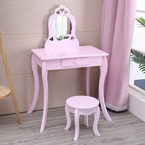 Kids Vanity Set, Makeup Dressing Vanity Set Wooden Princess Makeup Table with Cushioned Stool,Drawer,Wooden Legs and Mirror, Make Up Dressing Play Set for Girls's Best Gift (Purple)