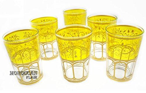 Marokkanischer Berber Silber Tee Gläser (Set von 6) gelb