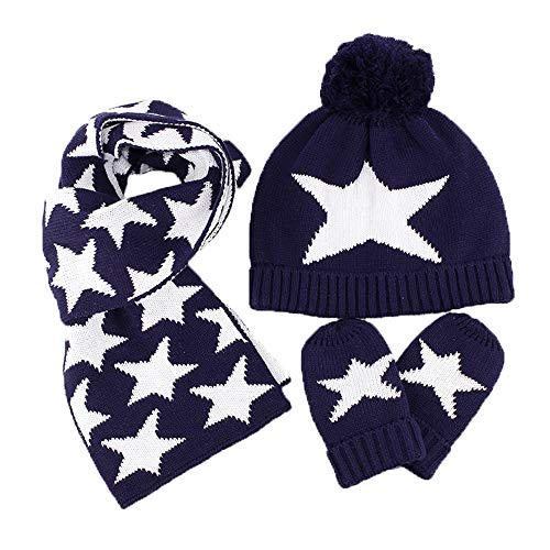 Estrellas Motivo gorro bufanda Guantes de punto 3pzs Conjunto Invierno Niños Niñas 6 meses a 10 años Bebé Sombrero gorra pañuelo manoplas cálido