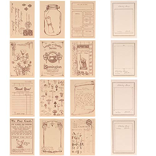 RisyPisy 12 Pieces Vintage Rubber Stamps, Decorative Foam Rubber Stamp & Notepad Set, Flower and Manuscript Stamps for Arts & Crafts, Scrapbooking, Planners, Bullet Journal and Card Making