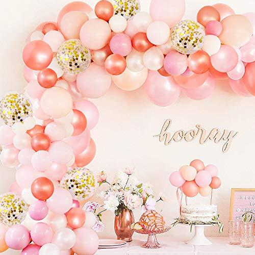 specool Geburtstag Dekor Rose Gold Happy Birthday Ballons, 100 Stück Pale Pink Weiß Gold Metallic Ballons, Party Supplies Ballons für Hochzeit und Geburtstag, Weihnachten, Brautgeschenke, Babypartys