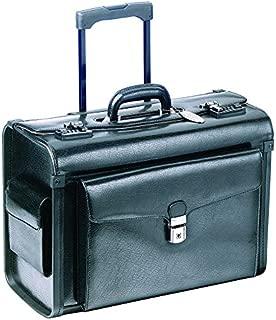 Mancini Deluxe Wheeled Leather Catalog Case - Black