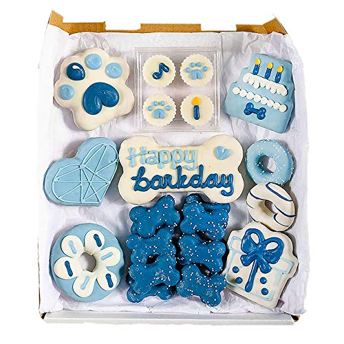 Wüfers Dog Birthday Boy Dog Cookie Box | Handmade Hand-Decorated Dog Treats | Dog Gift Box Made with Locally Sourced Ingredients | 10+ Cookies