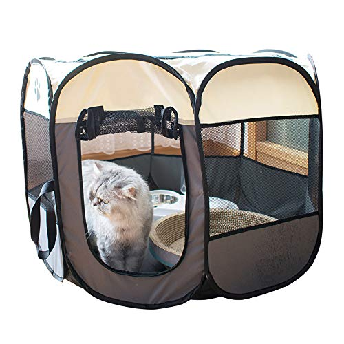 B-1 Parque de Juegos para Mascotas, Tela Oxford portátil, para Perros Gatos Parque de Juegos Octogonal Impermeable Resistente a los arañazos para Interior y Exterior,M