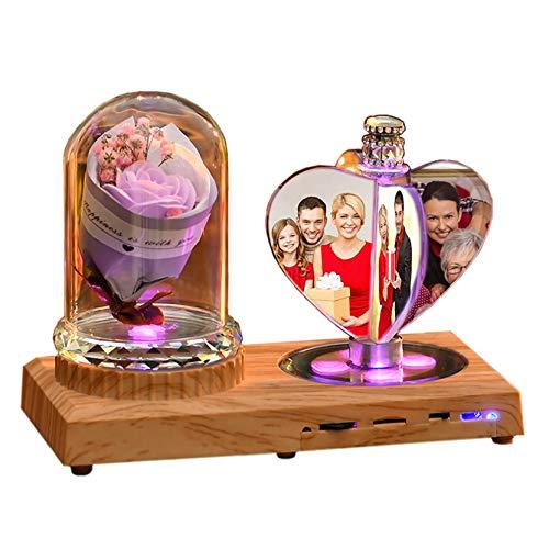 Personalisierte Bluetooth-Musiklampe LED-Album Angepasste Foto Nachtlicht 3D Herz Kristall Fotorahmen Jubiläum für Frauen(Lila Rose)
