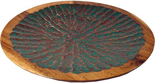 Guru-Shop Gesneden Houten Schaal Vintage, Exotische Fruitschaal - Ontwerp 6, Bruin, 4,5x39x39 cm, Kommen