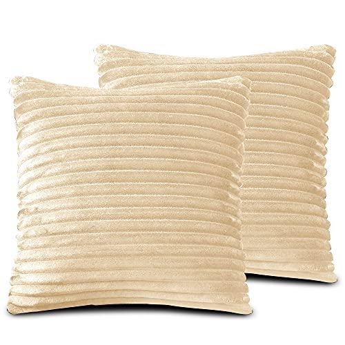 FARFALLAROSSA Fundas de cojín de microfibra con cremallera, color beige (paquete de 2) 60 x 60 cm, fundas cuadradas para cojín de sofá, aptas para cualquier época del año, color liso