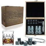 Flow Barware - Juego de vasos de whisky y vasos de whisky de madera para whisky